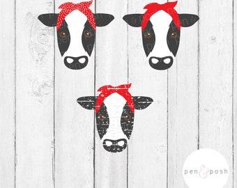 Cow Face Bandana SVG - Cow SVG - Cow Head SVG - Cow Face Svg - Cow With Bandana - Cow Face Dxf - Cow Face Cut File - Cow Svg File for Cricut