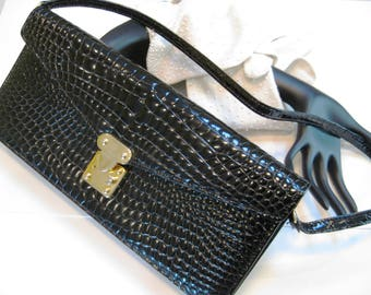 Sophisticated and Classy!  Faux Alligator Leather Purse, Black, Suede Leather Inside, Vintage Handbag