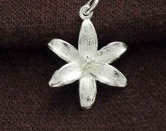 1 of 925 Sterling Silver Lily Flower Pendant 17mm. Polish Finished :th2391