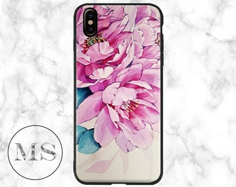Pink Watercolor Peony Flower, Botanical, Solid case for iPhone X, 8, 8 Plus, 7, 7 Plus, 6s, 6, 6 Plus, 5, 5s, SE, girly, vintage
