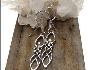 Sterling Silver Celtic Goddess Earrings, .925 Silver Goddess Dangling Earrings - Real Silver Wiccan-Pagan Jewelry SE-2876-FEW