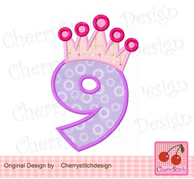 Crown number 9 birthday embroidery applique design 4x4 for Embroidery office design version 9