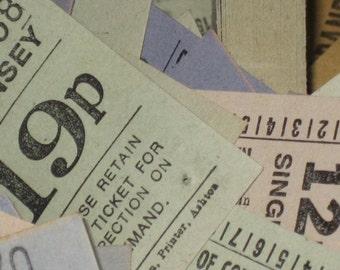 100 Assorted Vintage British Bus Tickets