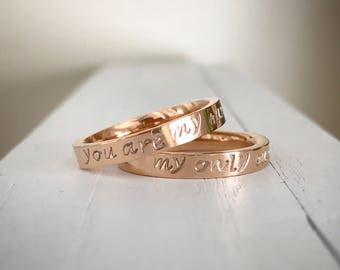 You are my sunshine my only sunshine Rings Stamped Rings mother daughter Rings Anniversary Gift Boyfriend Girlfriend Gift set of 2