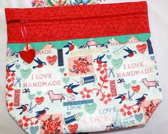 Big Bottom Bag I Love Handmade Cross Stitch, Sewing, Embroidery Project Bag