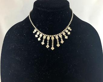 Vintage 50er Jahre klar Kristall Strass Halskette