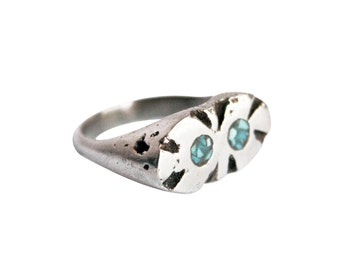 Silver Artifact Ring, Turquoise Ring, Silver Turquoise Ring, Turquoise Inlay, Chunky Silver Ring, Silver Statement Ring, Cocktail Ring
