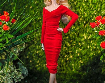 ELENPRIV red velvet dress for Fashion royalty FR2 NuFace Color Infusion Silkstone Barbie and similar body size dolls.