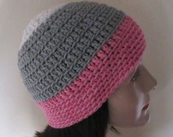 Gray Pink and White Beanie, Gray Pink and White Crochet Beanie, Gray Snow Hat, Cold Weather Accessory, Hockey Mom, Gray Snow Hat