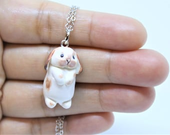 Bunny Necklace Bunny Charm Bunny Pendant Bunny Figurine Bunny Charm Necklace Bunny Keychain Bunny Jewelry Polymer Clay Easter Bunny Necklace
