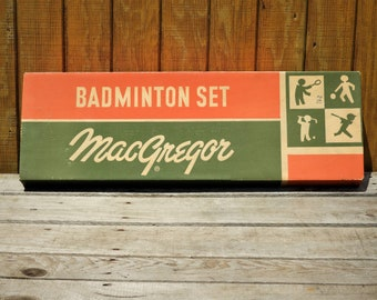Vintage Outdoor Game, MacGregor Badminton Set, White Wooden Racket Sports, Family Fun Decoration, Sporting Goods, ABA Tournament Games