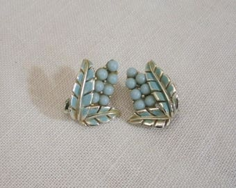 Vintage Coro Light Blue Bead and Leaf Clip Earrings