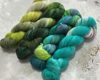 Hand Dyed Yarn - Fingering Weight Yarn - Coastal Forest - tonal -Speckles