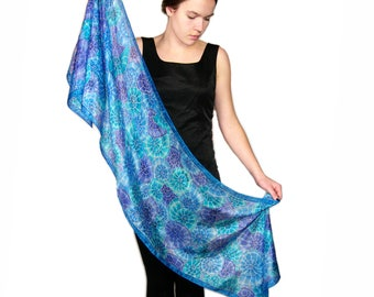 Silk hand painted scarf, blue silk scarf, nautical pattern scarves, Christmas womans gift, long silk shawl, OOAK gift for woman