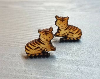 Sleepy Tiger Earrings | Laser Cut Jewelry | Hypoallergenic Studs | Wood Earrings