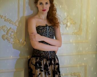 Amasing Tulle Skirt with velvet roses - Black tulle skirt - Tulle skirt - Black velvet skirt - Long skirt with velvet roses - Velvet roses