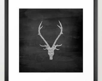 Deer Antler Print - Deer Antler Decor - Chalkboard Art - Rustic Decor - Woodland Decor - Cabin Decor - Cabin Wall Art - Lake House Decor
