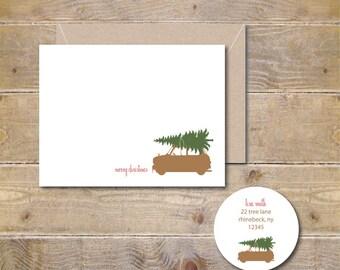 Christmas Cards . Holiday Cards . Christmas Tree Christmas Cards . Mini Cooper - Christmas Tree Day