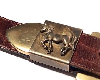 Vintage 1980s Brown Leather Belt with Horse Belt