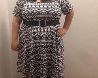 SALE Plus Size Tribal Print Dress, Black and White Plus Size Dress, Casual Plus Size Dress, Summer Plus Size Dress, Women's Dress