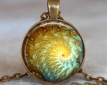 Sun Spiral Fractal necklace, fractal pendant fractal art necklace Sun pendant Sun necklace math student gift fractal key chain key ring