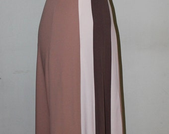 """XS, Vintage 1970's Maxi dress with halter top, earth tones, 24"""" waist"""