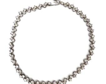Classic Rhinestone Necklace | Vintage Linked Rhinestone Choker | Mid Century Bridal Jewelry