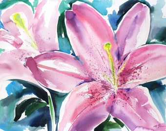 Spring 2016 Lily , limited edition of 50 fine art giclee prints from my original watercolor