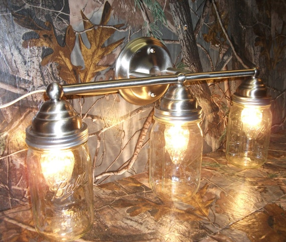 Mason Jar Vanity Light: Mason Jar Light 3-Light Brushed Nickel Rustic Mason Jar Vanity