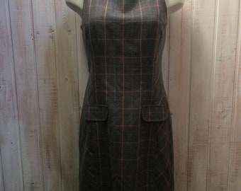 Vintage dress in tweed, Tommy Hilfiger, grey and beige, size 8