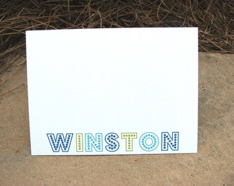 Personalized Flat Note Cards Marquees Stationery