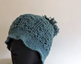 Blue and Green Hat openwork Superfine alpaca and silk with pompom