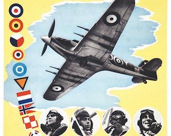 Vintage World War 2 Allied Pilots Poster A3 Print