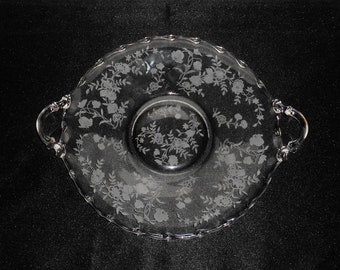 Fostoria Bouquet Pattern Etched Glass Handled Cake Plate ~ Vintage