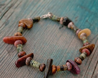 Tourmaline, African Turquoise, and Rhyolite Bracelet