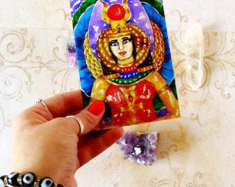 Fantasy Art Egyptian Goddess Isis Altar Art Prayer Card Goddess Art Print Pagan Art Occult Mythological Spiritual Art Divine Feminine