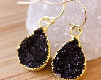 50% OFF SALE - Small Black Druzy Teardrop Earrings - Pear Shape Earrings - Minimalist Jewelry