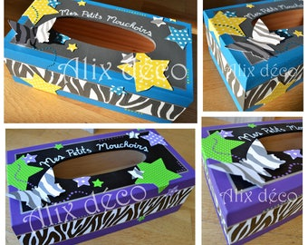 Box with wooden handkerchiefs theme Zebra (made to order)