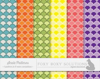 Scale Patterns: 1 Pattern in 6 Colors; Bold Colors Pattern; High Resolution Digital Paper; Scale Pattern Digital Papers Instant Download