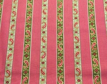 Free Spirit Fabric - Verna Mosquera - Savon Bouquet - Paisley Stripe - VM - 21 Grapefruit