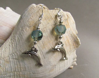 Dolphin Earrings, Beach Jewelry, Sea Green, Ocean, Vacation, Gift Giving, Gift for Her,  Sea Life, Dangle Drop Earrings, Harleypaws, SRAJD