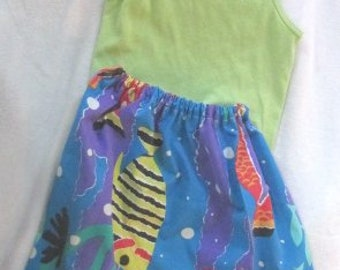 Eco-Friendly Summer Girls size LARGE vintage LIME tank top with handmade elastic waist skirt.  Tropical colors Bright blue