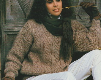 Womens Sweater Knitting Pattern : Ladies 36 - 38 inch bust - 92 - 96 cm chest - Jumper Knitting - PDF Digital Download