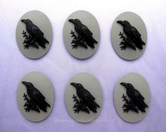 6 Gothic Crow Raven Blackbird Black Bird Witch Wiccan Voodoo Goth Emo Black on Gray Grey 25mm x 18mm Resin CAMEOS LOT for Costume Jewelry