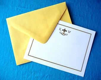 Fleur de Lis Personalized Flat Note Cards - Set of 25