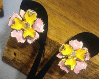 AB Rhinestone and Pink and Yellow Enamel Flower Goldtone Clip Earrings