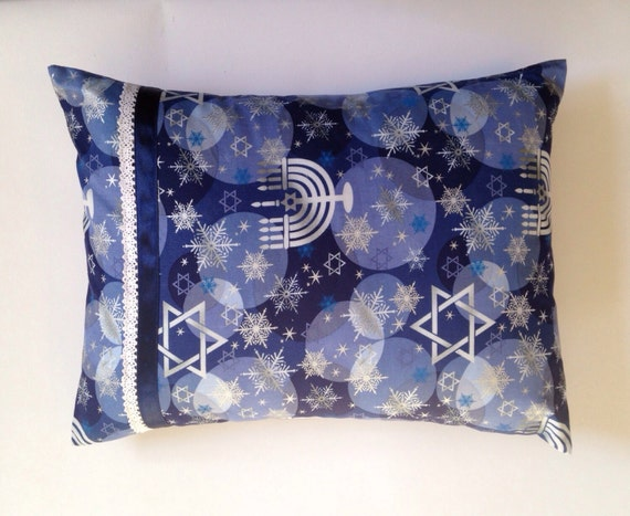 Hanukkah Accent/ Travel Pillow Multi Blues With Menorahs, Star Of Davids, And A Smattering Of Snowflakes by Etsy
