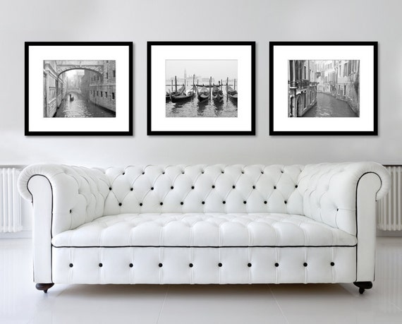 Venice italy print set black and white photography set of 3