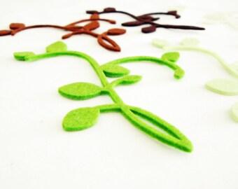 Thick Felt Leafy Branch - 10 Pieces - Felt Die Cut Leaves