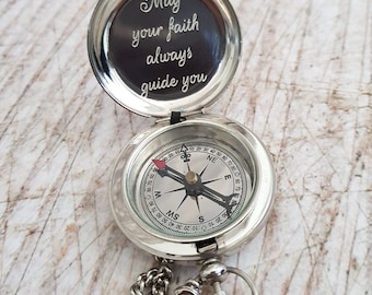 Handmade Silver Compass, Personalized Working Compass, Anniversary Gift, Wedding Gift, Engraved Compass, Groomsmen Gift, Christmas Gift